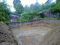 Фундамент плита, стадия подготовки для подбетонки